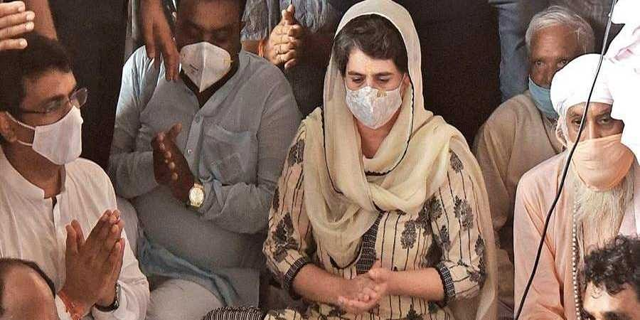 Priyanka Gandhi attends a prayer meet at a Valmiki temple in New Delhi