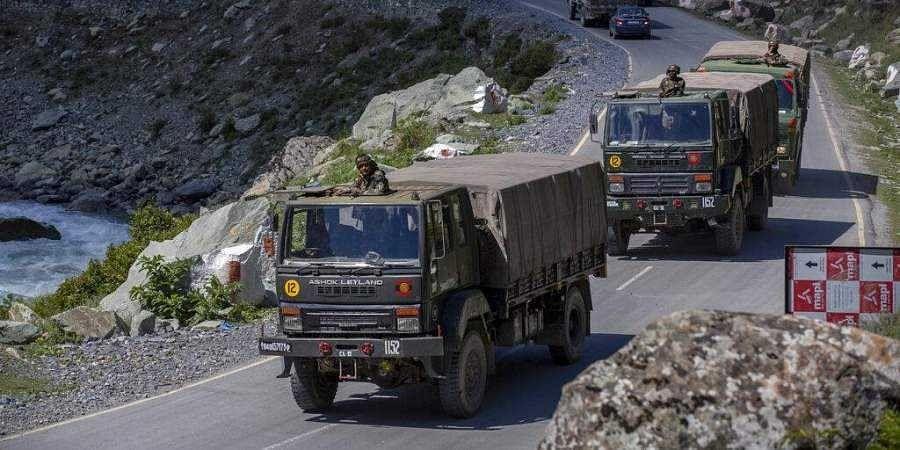 An Indian army convoy moves on the Srinagar- Ladakh highway at Gagangeer, northeast of Srinagar, Wednesday, Sept. 9, 2020. (Photo | AP)