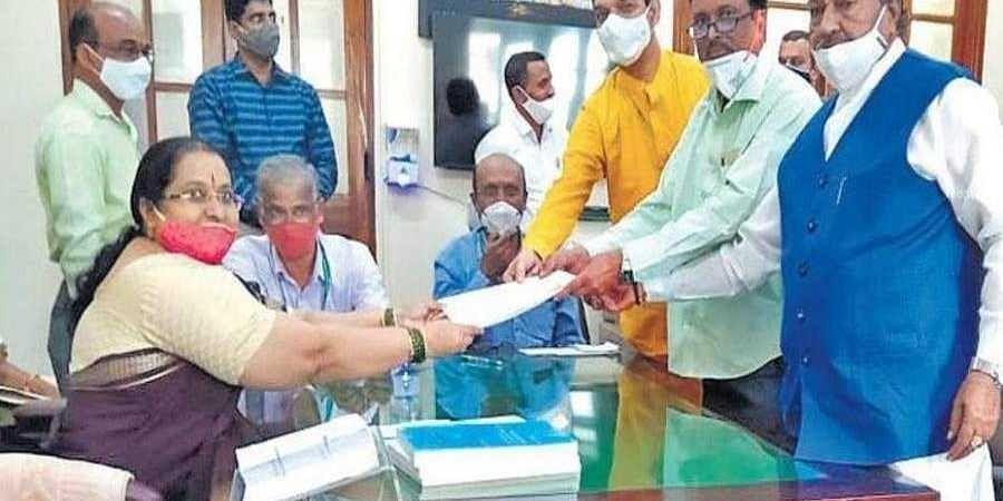 Rajya Sabha candidate K Narayan files his nomination in the presence of BJP state president and Nalin Kumar Kateel and minister KS Eshwarappa