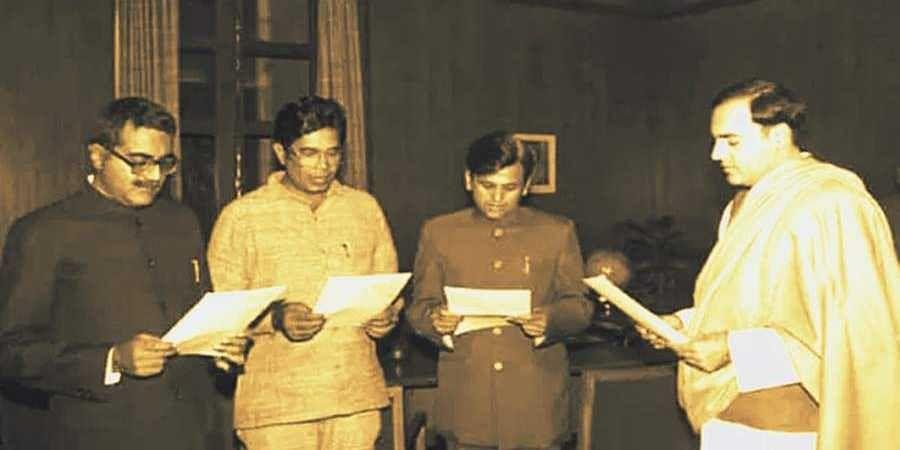 Congress leaders took oath as parliamentary secretaries Arun Singh, Oscar Fernandese and Ahmed Patel