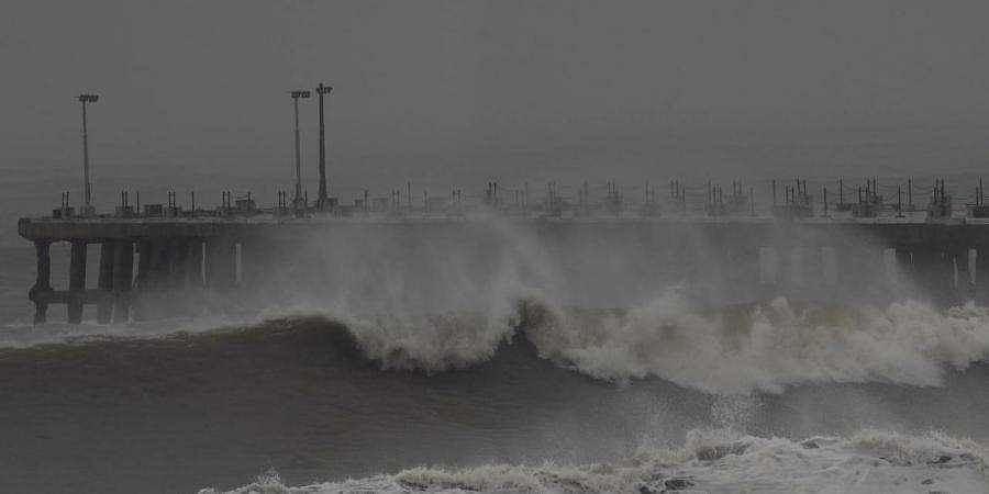 Giant waves hit Puducherry coast on wednesday before the landfall of cyclone Nivar
