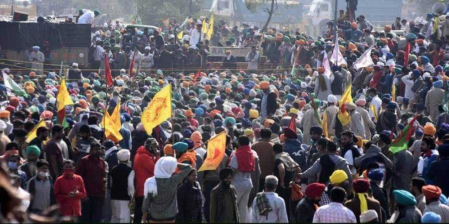 Farmers at Singhu border during their ongoing protest march Delhi Chalo against Centres new farm laws.