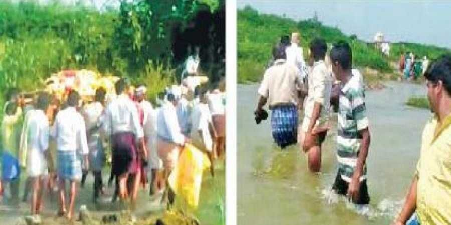 Villagers of Madere cross a stream for funeral