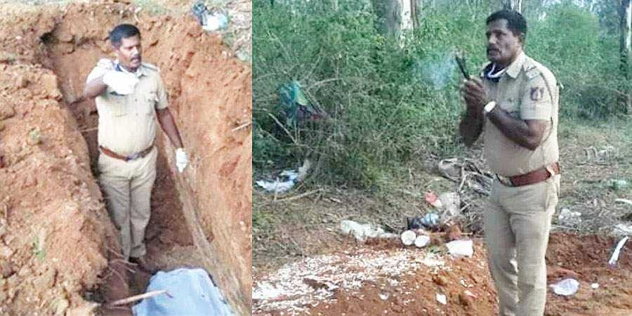 Karnataka Cops Digs Mans Grave