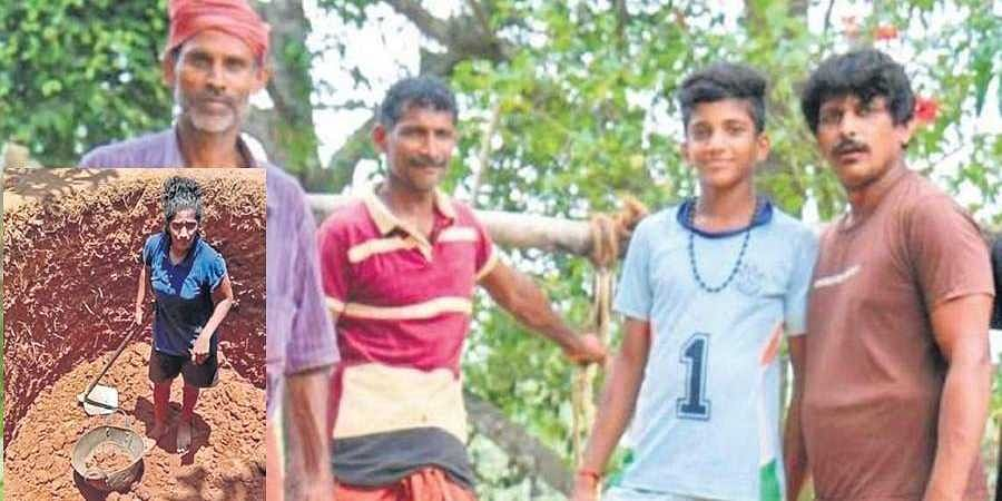 Akshatha Poojary was helped by her brothers and nephews to dig the well in Udupi