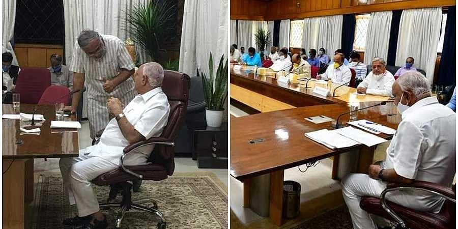 Minister Suresh Kumar with CM B S Yedyurappa