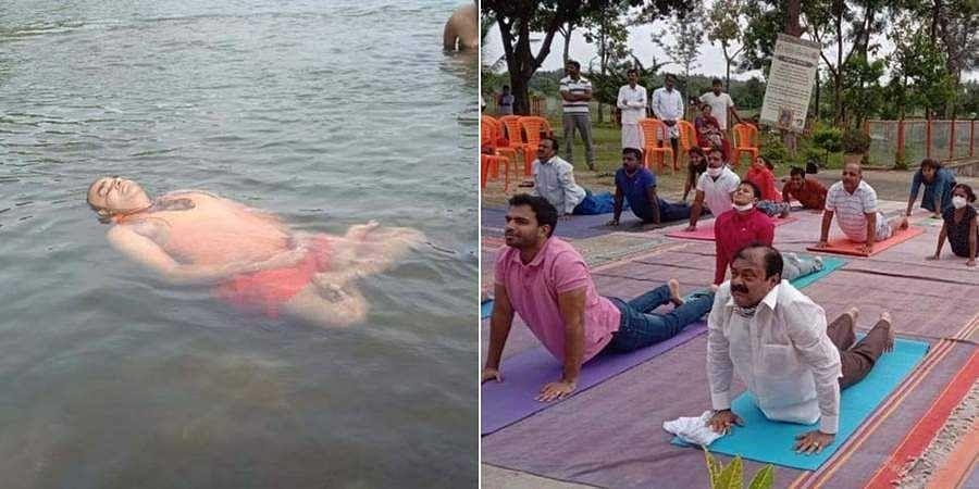 Trinitra Sri performs Water Yoga