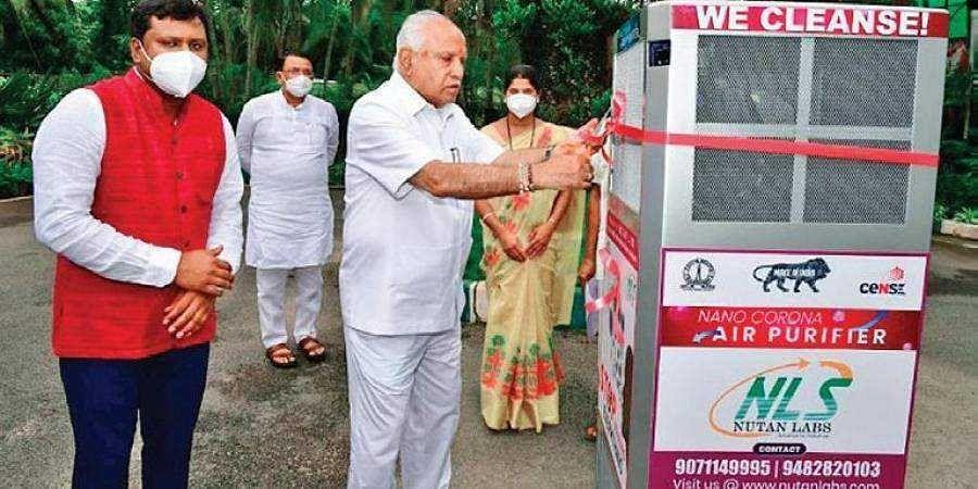 Chief Minister B S Yediyurappa inaugurates the Nano Corona Air Purifier-Cum-Steriliser at his official residence Krishna in Bengaluru on Friday