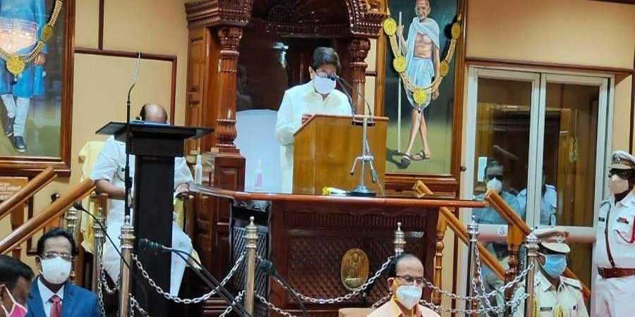 Puducherry Lt Governor Kiran bedi address the assembly during the ongoing budget session.