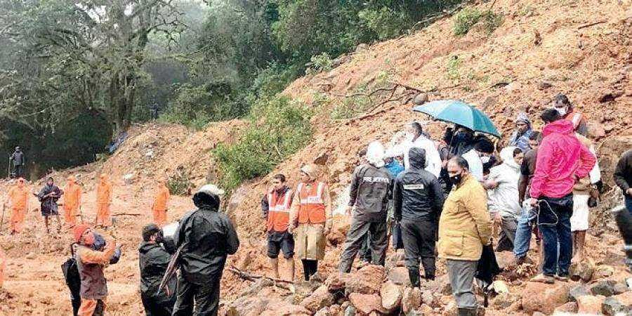 NDRF and police personnel carry out rescue operations at Talacauvery