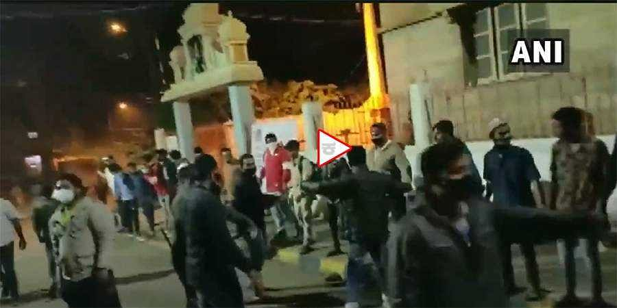 human chain around a temple in DJ Halli