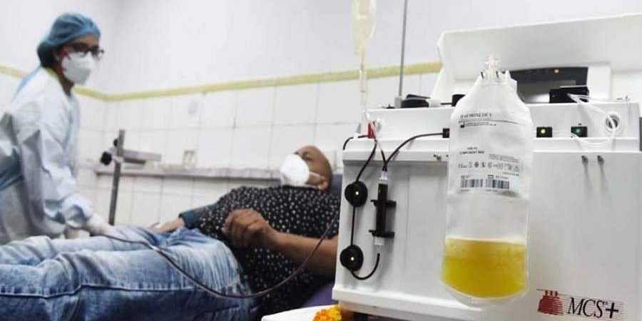 A person donating plasma.