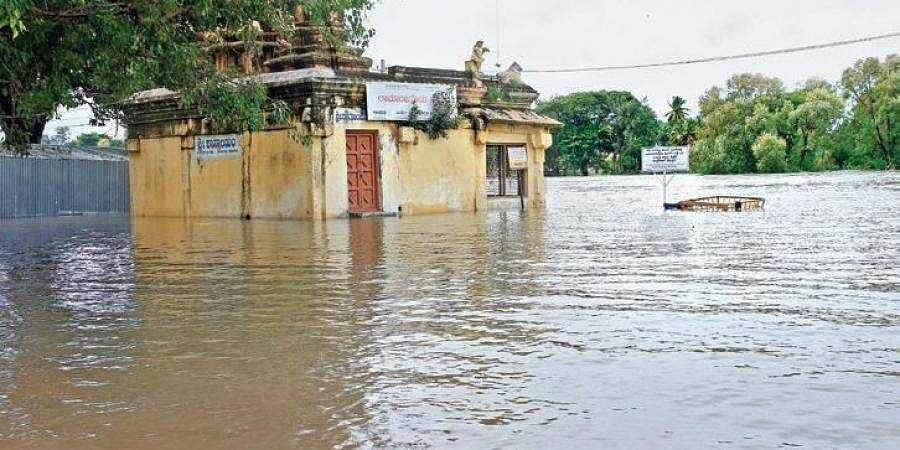 A temple in Nanjangud submerged during the recent floods