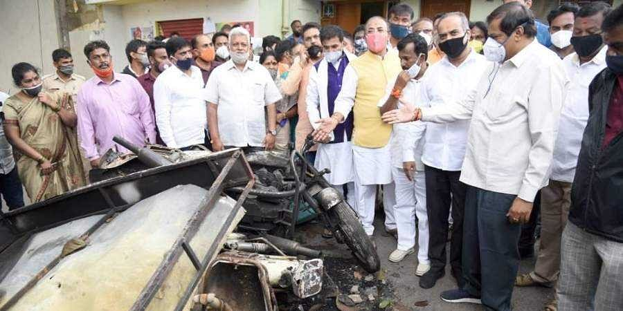 A team of BJP delegates visited the riot hit area of Dj Halli on Sunday to take stock of the ground situation in Bengaluru on Sunday.