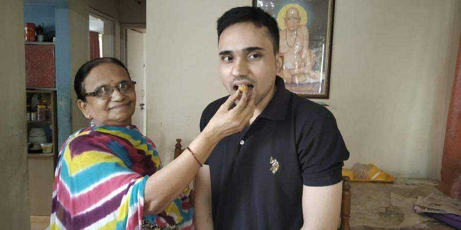 Jayant Mankale with his mother