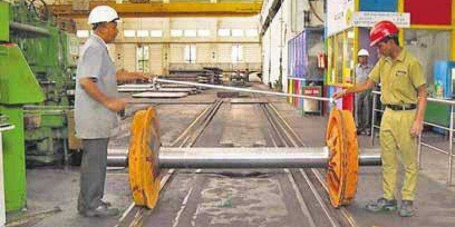 Workers at the Rail Wheel Factory in Yelahanka, which turned 37 on Tuesday