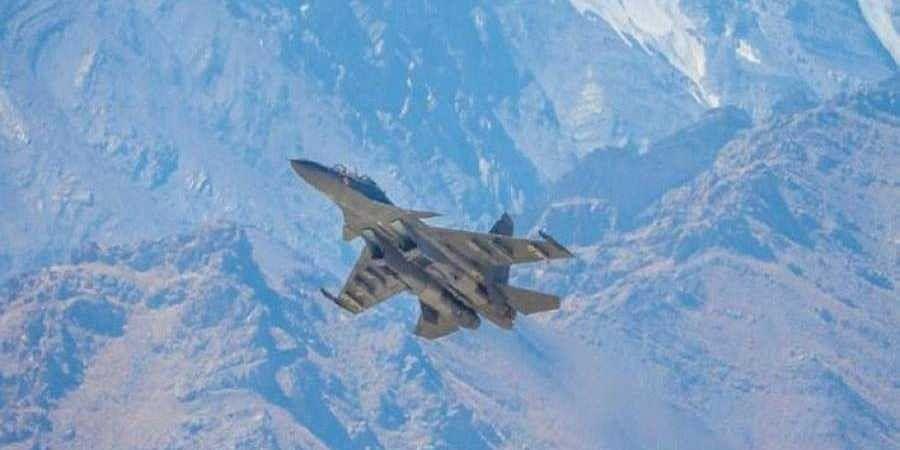 A Sukhoi Su-30MKI jet flies over Ladakh amid tension at LAC