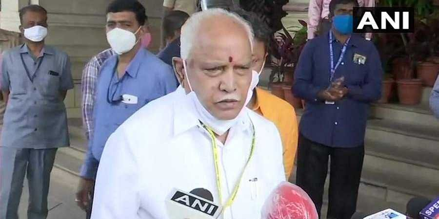 CM BS Yediyurappa arrives at Vidhana Soudha for the ongoing MonsoonSession of Assembly.