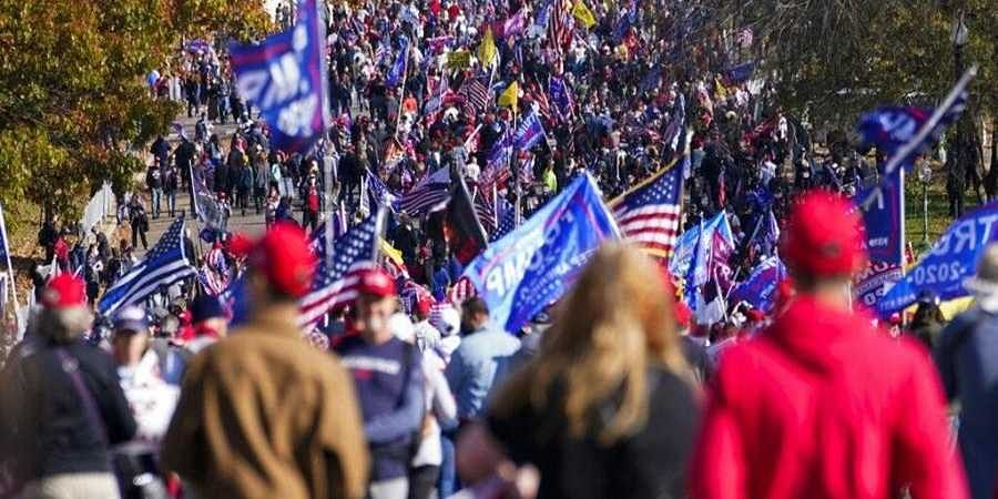 Supporters of President Donald Trump attend pro-Trump marches