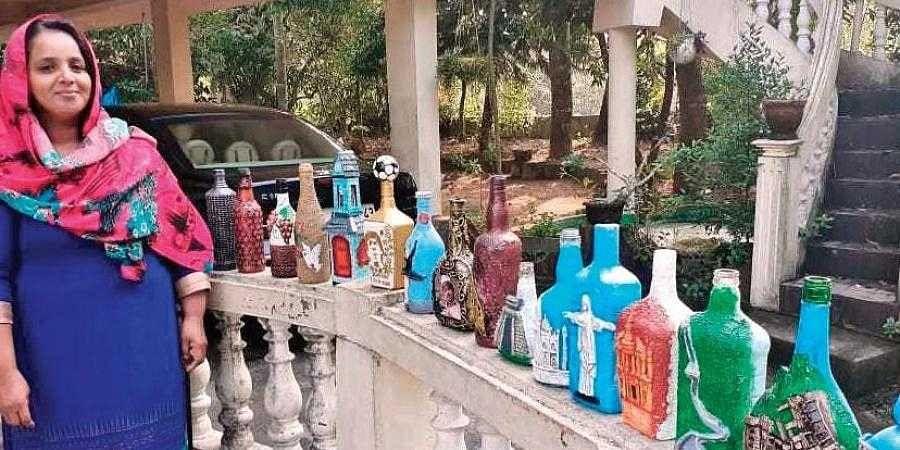 Jisna Nagirsha with her bottle art