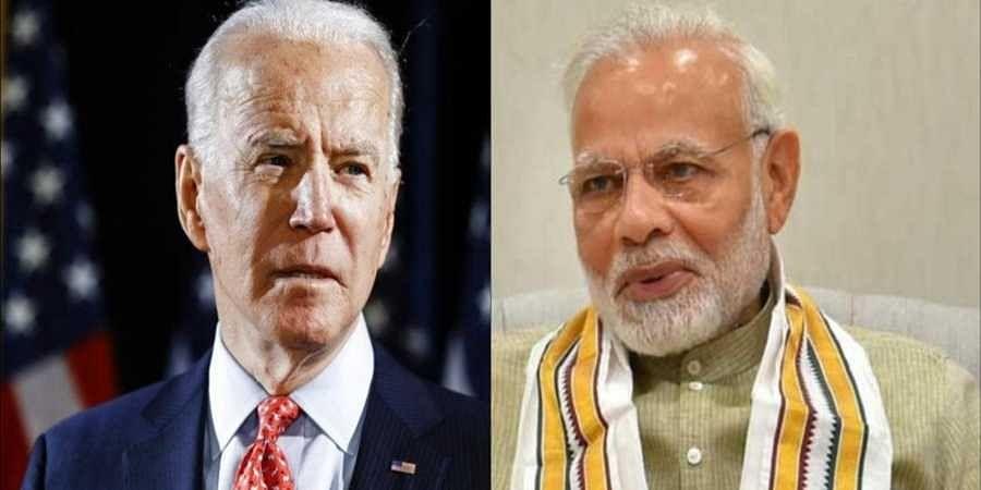 US President Joe Biden and (R) PM Narendra Modi