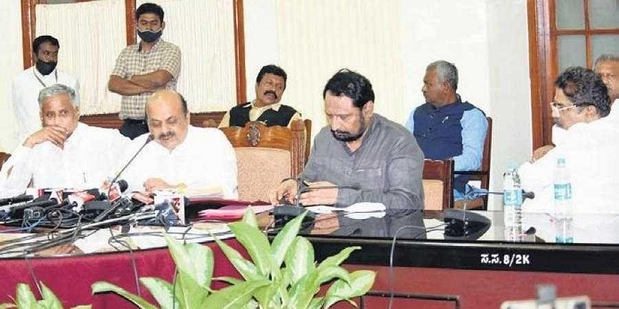 Home and Law minister Basavaraj Bommai, DyCM Laxman Savadi, Revenue Minister R Ashoka and V Somanna at the cabinet meeting on Thursday