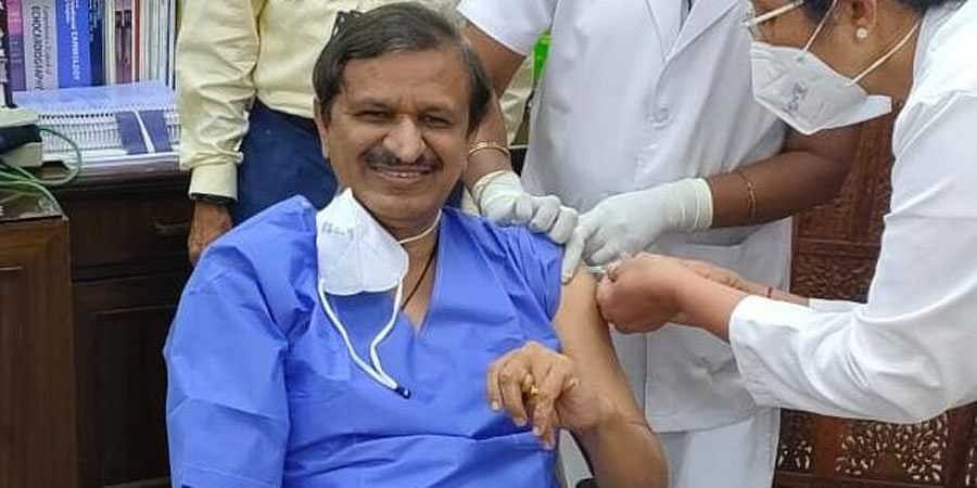 Dr Manjunath takes coronavirus vaccine
