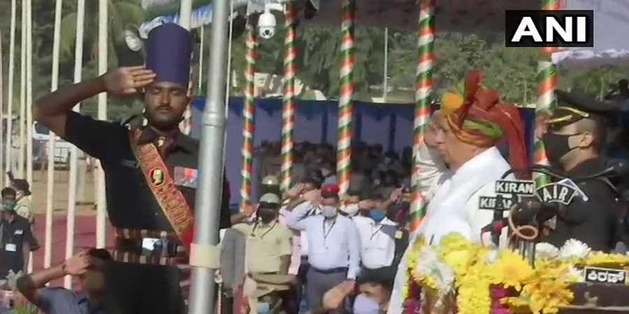 Governor Vajubhai Vala unfurls the national flag on Republic Day