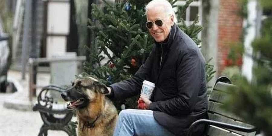 Joe Biden with his pet dog.