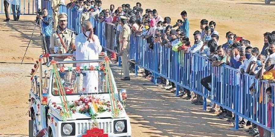 Minor Irrigation Minister J C Madhuswamy at the Republic Day celebrations in Tumakuru on Tuesday