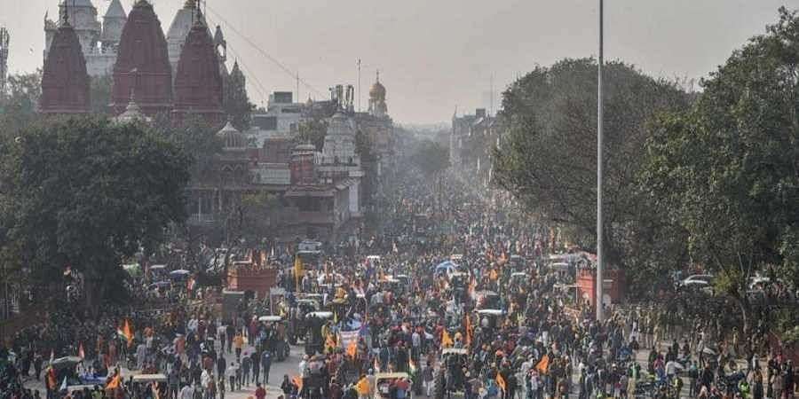 Farmers gathered in front of Red Fort after their tractor parade on Republic Day.