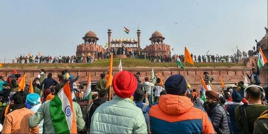 Farmers gather at Red Fort during their tractor parade on Republic Day