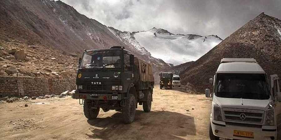 An Indian Army truck crosses Chang la pass near Pangong Lake in Ladakh region.