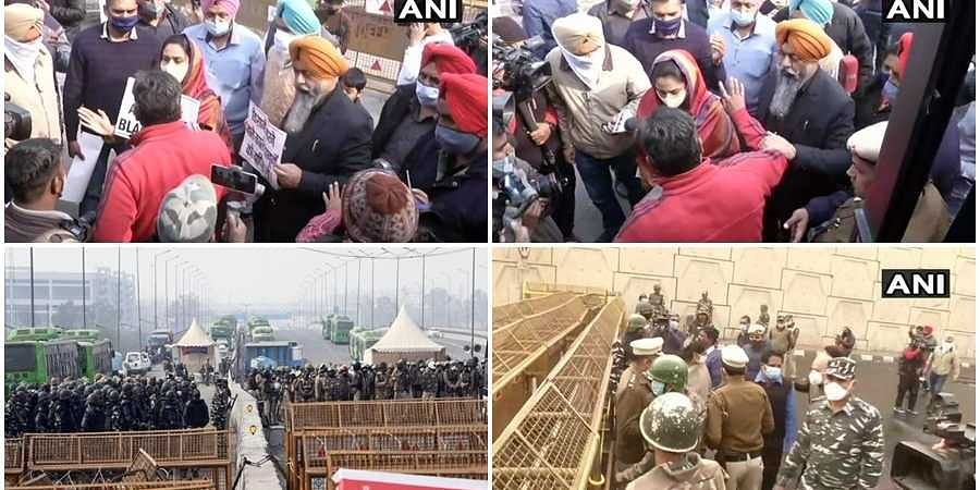 Opposition leaders who have reached Ghazipur border to meet the protesting farmers have been stopped by Police.