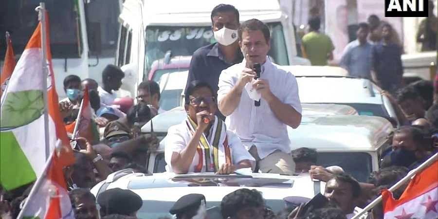 Rahul Gandhi at road show in Kanyakumari Tamil Nadu