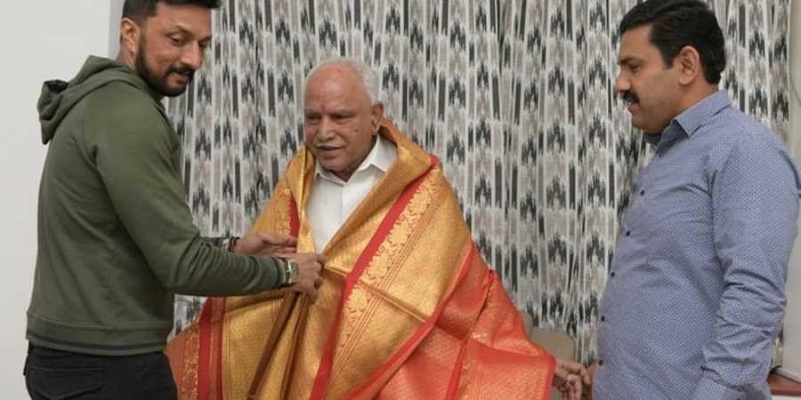 sudeep Meets Chief Minister  BS yediyurappa