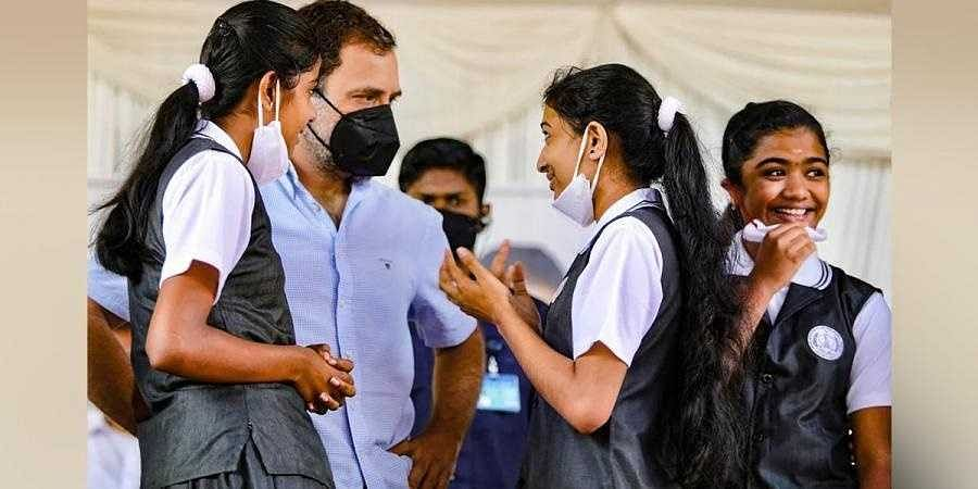 Rahul Gandhi during an interaction with the students