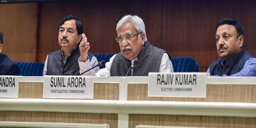 Chief Election Commissioner Sunil Arora (C) with Election Commissioners Sushil Chandra (L) and Rajiv Kumar addresses a press conference.