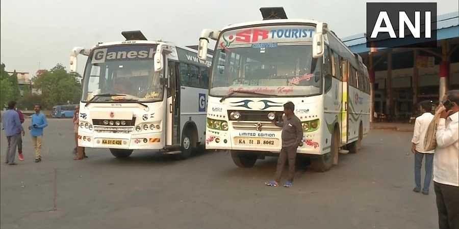 Scenes at a bus stop in Karntaka