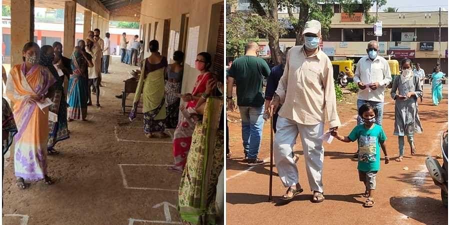People in queue for voting in Karnataka