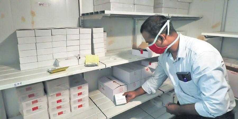 Newly arrived Covid vaccine vials being stored at Regional Vaccine Store. (File photo| EPS/k k sundar)
