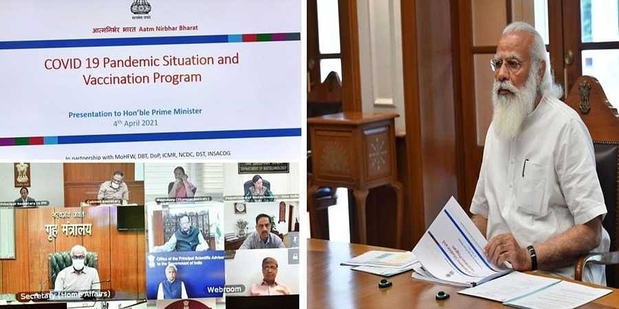 Prime Minister Narendra Modi chairs a high-level meeting to review the COVID19 related issues