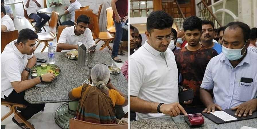 MP Tejasvi Surya pay bill after breakfast