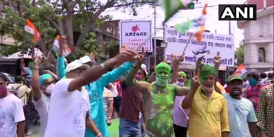 TMC supporters celebrates victory in West Bengal