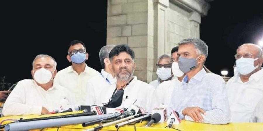 KPCC president D K Shivakumar, along with other Congress leaders,