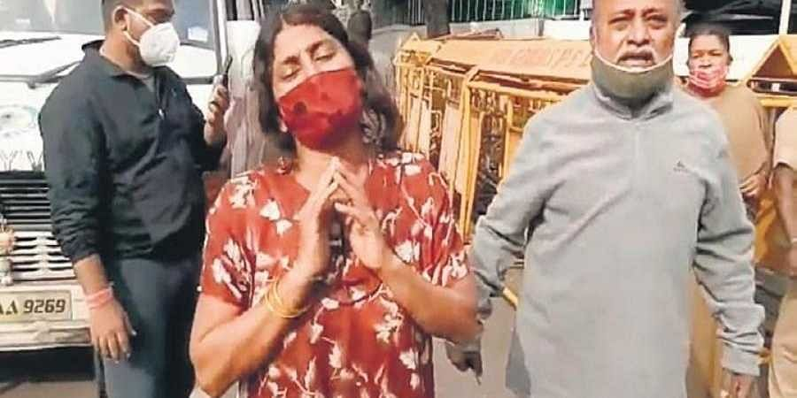 A patient's wife outside Chief Minister BS Yediyurappa's residence in Bengaluru on Thursday